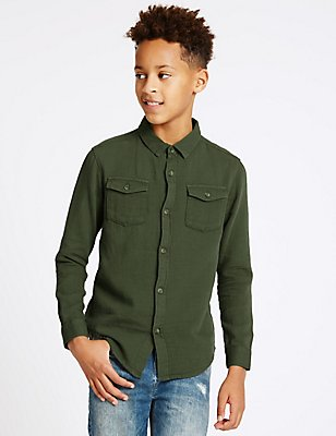 Pure Cotton Long Sleeve Shirt (3-14 Years), DARK OLIVE, catlanding