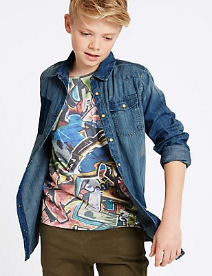 Pure Cotton Denim Shirt (3-14 Years), DENIM, catlanding