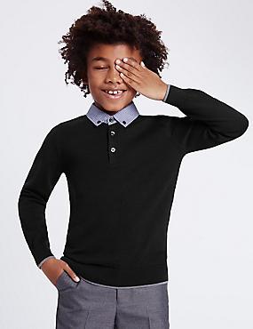 Pure Cotton Mock Shirt Jumper (3-14 Years), NAVY, catlanding