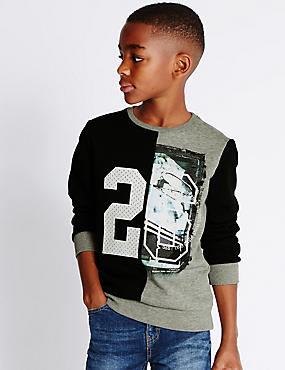 Cotton Blend Sweatshirt (5-14 Years), BLACK MIX, catlanding