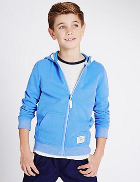 Cotton Rich Hooded Sweatshirt (3-14 Years), BLUE, catlanding