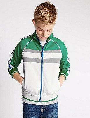 Cut & Sew Zip Through Jacket (5-14 Years), WHITE/GREEN, catlanding
