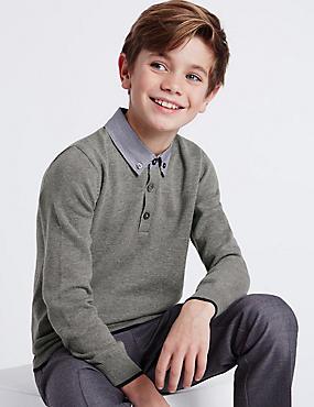 Pure Cotton Mock Shirt Jumper (3-14 Years), GREY, catlanding
