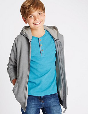Cotton Rich Hooded Sweatshirt (5-14 Years), GREY, catlanding