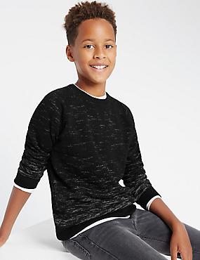 Sweat-shirt en coton à manches longues (du 5 au 14ans), NOIR, catlanding