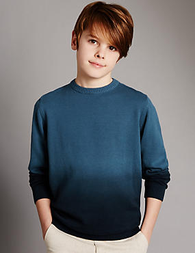 Pure Cotton Long Sleeve Jumper (5-14 Years)