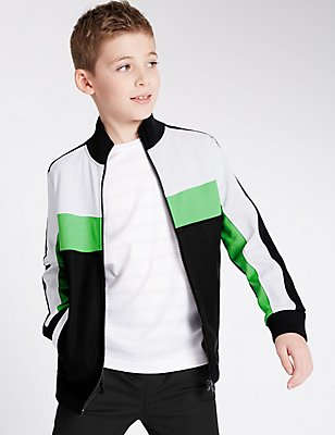 Cut & Sew Zipped Jacket (5-14 Years), BLACK MIX, catlanding