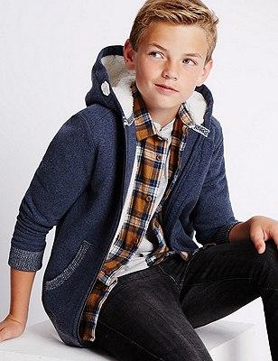 Cotton Rich Lined Hooded Sweatshirt (5-14 Years), NAVY, catlanding