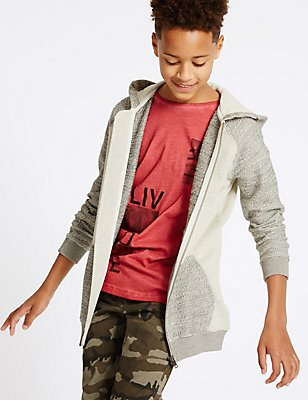 Pure Cotton Hooded Top (3-14 Years), MULTI, catlanding