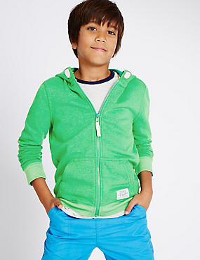 Kapuzen-Sweatshirt mit hohem Baumwollanteil (3–14 Jahre), GRÜN, catlanding