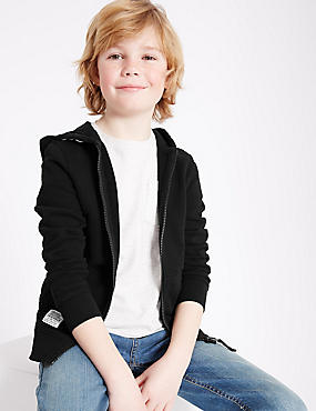 Cotton Rich Hooded Top (3-14 Years) , BLACK, catlanding