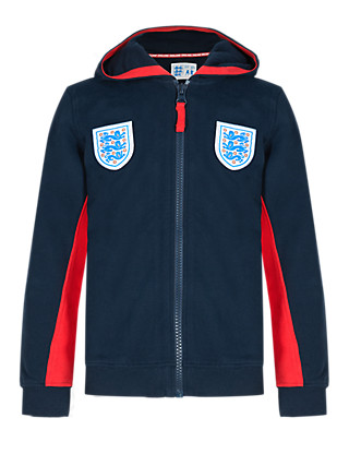 Pure Cotton Umbro 3 Lions Hooded Sweat Top (5-14 Years) Clothing