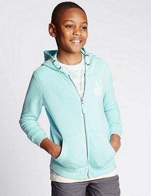 Cotton Rich Acid Wash Hooded Sweatshirt (5-14 Years), BLUE, catlanding