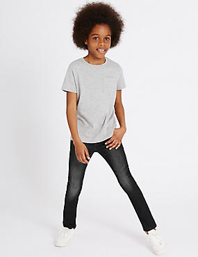 Cotton Slim Fit Jeans with Stretch (3-14 Years), BLACK, catlanding