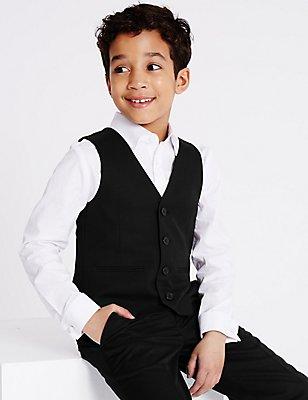 4 Button Waistcoat (3-14 Years), BLACK, catlanding