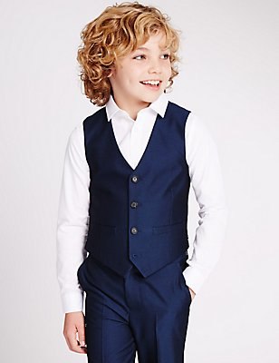 4 Button Waistcoat (3-14 Years), BRIGHT BLUE, catlanding