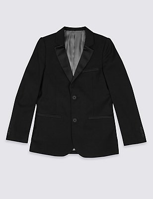 2 Button Tuxedo Blazer (3-14 Years), BLACK, catlanding