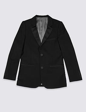 2 Button Tuxedo Blazer (3-14 Years), BLACK, catlanding