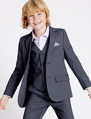 Notch Lapel Textured Blazer (3-14 Years), BLUE MIX, catlanding