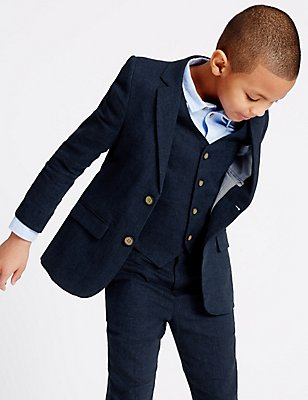Linen Blend Blazer (3-14 Years), NAVY, catlanding