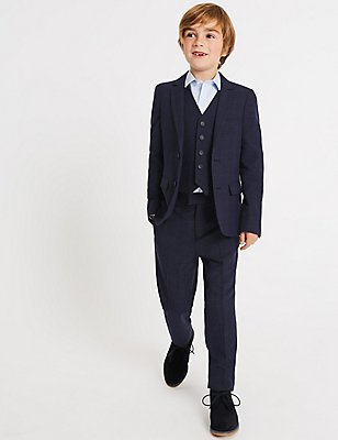 Checked V-Neck Jacket (3-14 Years), NAVY, catlanding