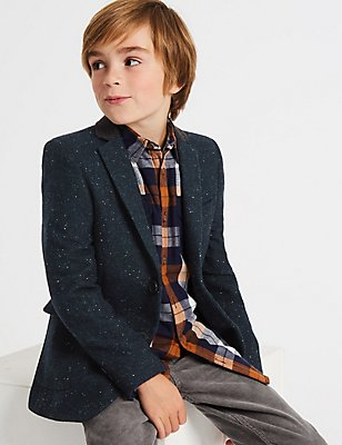 Wool Blend Jacket (3-14 Years), GREY MIX, catlanding
