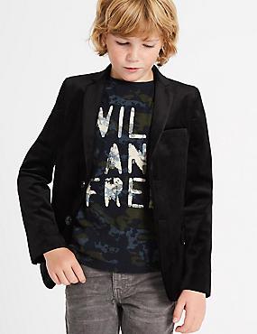 Velvet Jacket (3-14 Years), Black, catlanding