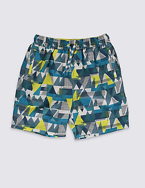 Geometric Print Woven Swim Shorts (5-14 Years)