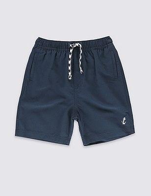 Adjustable Waist Swim Shorts (5-14 Years), NAVY, catlanding