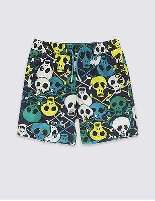 Skull Print Adjustable Waist Swim Shorts (5-14 Years), NAVY MIX, catlanding