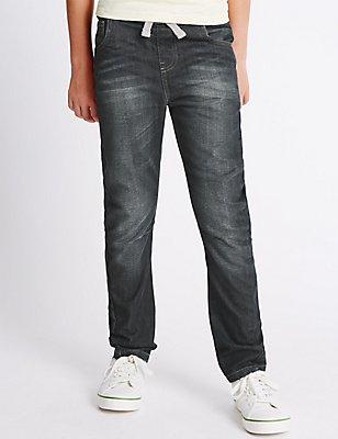 Pure Cotton Rib Waist Oleg Jeans (3-14 Years), DARK DENIM, catlanding