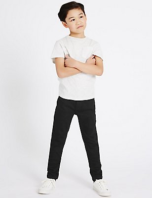 Cotton Slim Fit Jeans with Stretch (3-14 Years), BLACK DENIM, catlanding