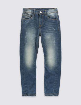 Хлопковые джинсы слим с модным дизайном для мальчика 5-14 лет