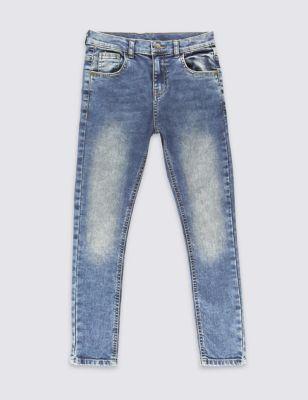 Хлопковые джинсы слим с регулируемым поясом для мальчика 3-14 лет от Marks & Spencer