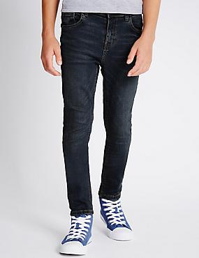 Cotton Dark Skinny Denim Jeans with Stretch (3-14 Years), DARK DENIM, catlanding