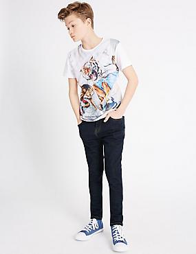 Baumwoll-Jeans mit verstellbarem Bund und Stretch-Anteil (3–14 Jahre), DENIM DUNKEL, catlanding
