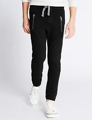 Pure Cotton Joggers (5-14 Years), BLACK, catlanding