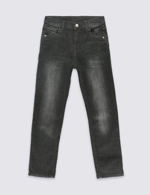 Чёрные джинсы с потёртостями для мальчика 3-14 лет