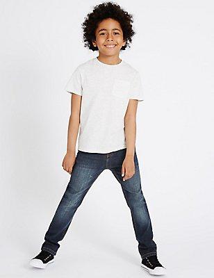 Cotton with Stretch Dark Regular Jeans (3-14 Years), DARK DENIM, catlanding