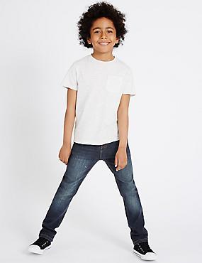Cotton Dark Regular Jeans with Stretch (3-14 Years), DARK DENIM, catlanding