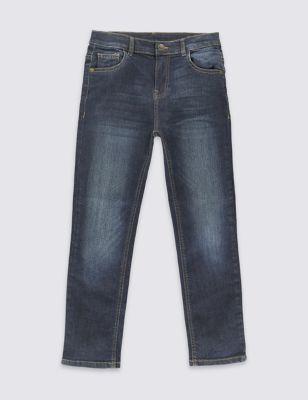 Хлопковые джинсы из тёмного денима для мальчика 3-14 лет