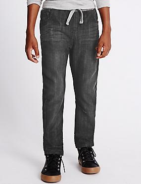 Oleg-jeans van katoenmix met geribde tailleband (3-14 jaar), ZWART DENIM, catlanding
