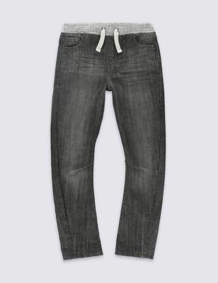 Мягкие джинсы с эластичным поясом в рубчик для мальчика 3-14 лет