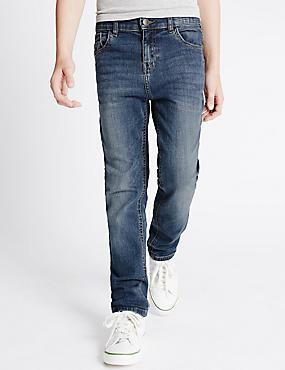 Cotton Dark Regular Jeans with Stretch (3-14 Years), DENIM, catlanding