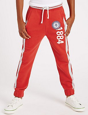 Cotton Rich Badge Joggers (5-14 Years), RED, catlanding