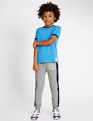 Cotton Rich Striped Joggers (3-14 Years), GREY, catlanding