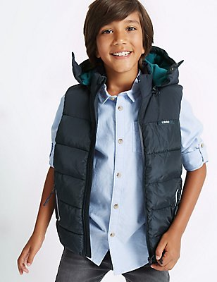 2 Pocket Hooded Gilet with Stormwear™ (3-14 Years), NAVY, catlanding