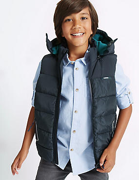 2 Pocket Hooded Gilet (3-14 Years), NAVY, catlanding