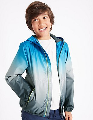 Dip Dye Shell Hooded Jacket (3-14 Years), BLUE MIX, catlanding