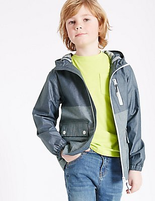 Pure Cotton Anorak Jacket (3-14 Years), NAVY MIX, catlanding